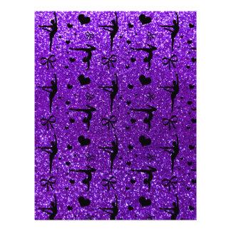 Indigo purple gymnastics glitter pattern full color flyer
