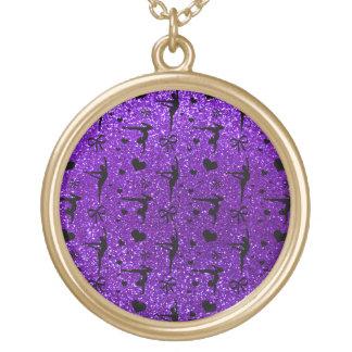 Indigo purple gymnastics glitter pattern round pendant necklace