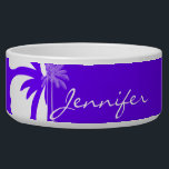 """Indigo, Purple Hawaiian Palm Tree Bowl<br><div class=""""desc"""">You will love this cute, tropical Indigo, Purple Hawaiian Tropical Hibiscus pattern design! The elegant palm tree adds a summer beach theme yet modern feel. Visit our store, Trendy Wedding, to view this cool pattern on many more great customizable products, including girly monogram gifts, tropical themed Save the Date postcards...</div>"""