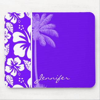 Indigo, Purple Hawaiian Palm Tree Mouse Pad