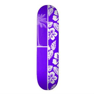 Indigo, Purple Hawaiian Palm Tree Custom Skate Board