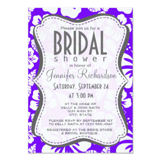 Indigo, Purple Hawaiian Tropical Hibiscus 4.5x6.25 Paper Invitation Card