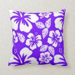 Indigo, Purple Hawaiian Tropical Hibiscus Pillow