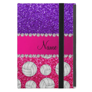 Indigo purple neon hot pink glitter volleyballs iPad mini cover