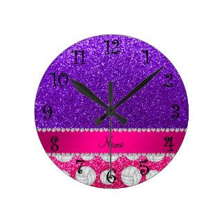 Indigo purple neon hot pink glitter volleyballs round clock