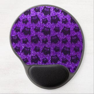 Indigo purple owl glitter pattern gel mouse pad