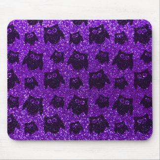Indigo purple owl glitter pattern mouse pad