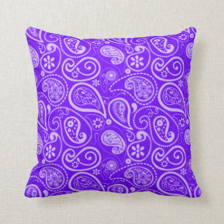 Indigo, Purple Paisley; Floral Throw Pillow