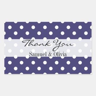 Indigo Rectangle Custom Polka Dotted Thank You Rectangular Sticker