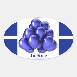 Indigo Ribbon -In Song Oval Sticker