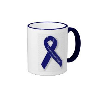 Indigo Ribbon Ringer Coffee Mug