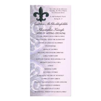 "indigo/rose ""iron fleur de lis"" WEDDING PROGRAM Rack Cards"