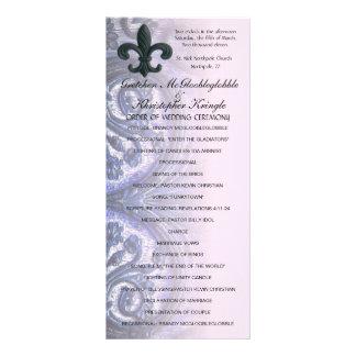 "indigo/rose ""iron fleur de lis"" WEDDING PROGRAM Full Color Rack Card"