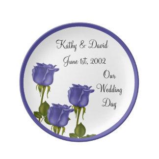 Indigo Roses Wedding Dinner Plate