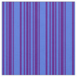 [ Thumbnail: Indigo & Royal Blue Colored Striped/Lined Pattern Fabric ]