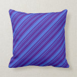 [ Thumbnail: Indigo & Royal Blue Colored Striped/Lined Pattern Throw Pillow ]