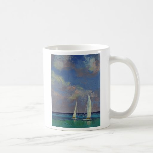 Indigo Sailboats Classic White Coffee Mug