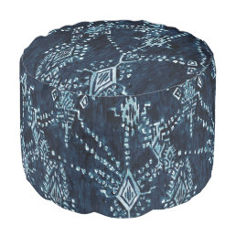 Indigo Satellite Ikat Tribal Watercolor Pouf