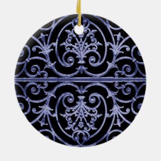 Indigo scrollwork pattern ceramic ornament