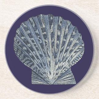 Indigo Shells VIII Sandstone Coaster