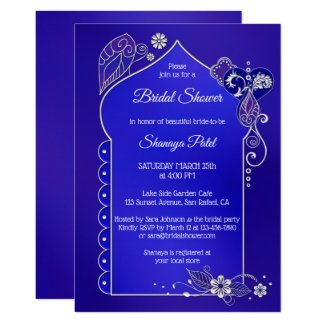 Indigo Silver Indian Henna Bridal Shower Invite