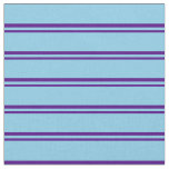 [ Thumbnail: Indigo & Sky Blue Colored Lines Pattern Fabric ]
