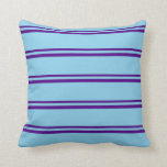 [ Thumbnail: Indigo & Sky Blue Colored Lines Pattern Pillow ]
