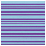 [ Thumbnail: Indigo & Sky Blue Stripes/Lines Pattern Fabric ]