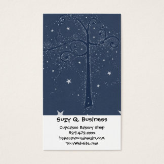 Indigo Sparkle Stars Scroll Tree at Night Business Card