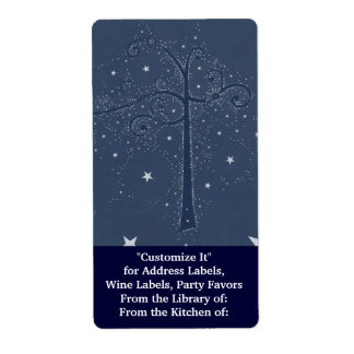 Indigo Sparkle Stars Scroll Tree at Night Label