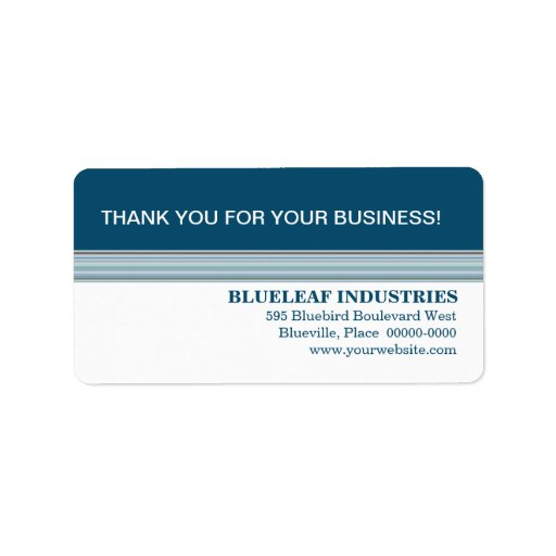 Indigo Stripes Business Thank You Label