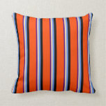 [ Thumbnail: Indigo, Tan, Cornflower Blue, Black, and Red Throw Pillow ]