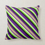 [ Thumbnail: Indigo, Tan, Light Cyan, Green & Black Lines Throw Pillow ]
