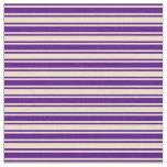 [ Thumbnail: Indigo & Tan Lined/Striped Pattern Fabric ]