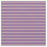 [ Thumbnail: Indigo & Tan Lines/Stripes Pattern Fabric ]