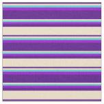 [ Thumbnail: Indigo, Tan, Turquoise, and Dark Violet Stripes Fabric ]
