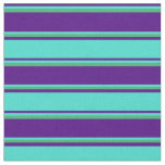 [ Thumbnail: Indigo, Turquoise, and Sea Green Colored Stripes Fabric ]