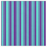 [ Thumbnail: Indigo & Turquoise Colored Stripes Fabric ]