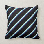 [ Thumbnail: Indigo, Turquoise, Mint Cream & Black Pattern Throw Pillow ]