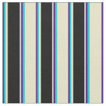 [ Thumbnail: Indigo, Turquoise, Pale Goldenrod, Black & White Fabric ]