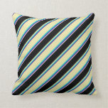 [ Thumbnail: Indigo, Turquoise, Pale Goldenrod, Black & White Throw Pillow ]