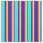 [ Thumbnail: Indigo, Turquoise, Tan & Chocolate Lines Fabric ]