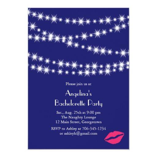 Indigo Twinkle Lights Bachelorette Party 5x7 Paper Invitation Card