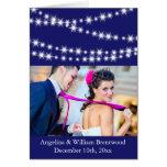 Indigo Twinkle Lights Photo Thank You Card