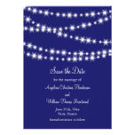Indigo Twinkle Lights Save the Date Custom Announcements