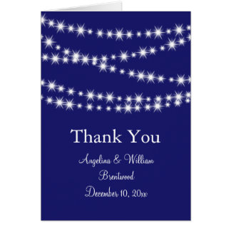 Indigo Twinkle Lights Thank You Card