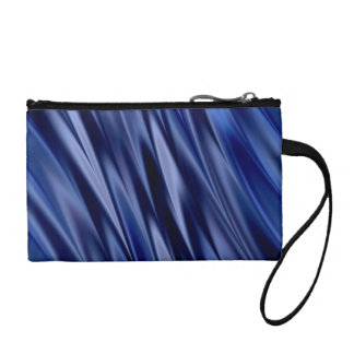 Indigo & violet blue satin style stripes change purse