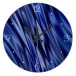 Indigo & violet blue satin style stripes wall clocks