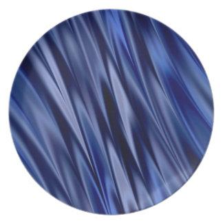 Indigo & violet blue satin style stripes dinner plate