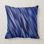 Indigo & violet blue satin style stripes throw pillow